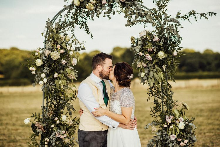 Floral Arch For Wedding // Yurt Wedding With Outdoor Humanist Ceremony Bride In Jenny Packham And Groom In Top Hat With Images From Michelle Wood Photographer