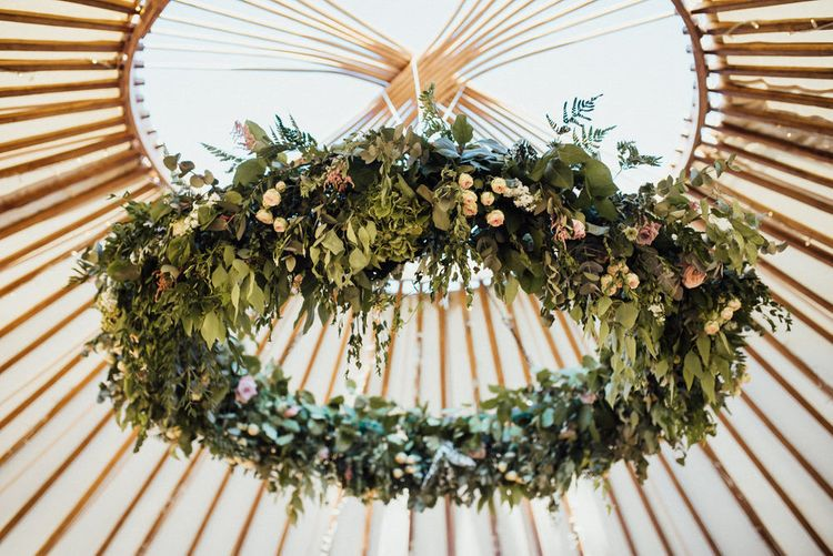 Floral Chandelier In Yurt // Yurt Wedding With Outdoor Humanist Ceremony Bride In Jenny Packham And Groom In Top Hat With Images From Michelle Wood Photographer