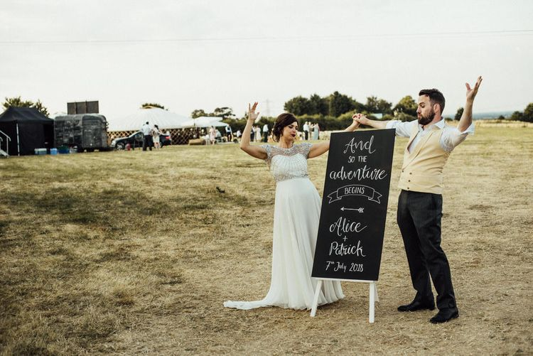 Wedding Chalkboard Sign // Yurt Wedding With Outdoor Humanist Ceremony Bride In Jenny Packham And Groom In Top Hat With Images From Michelle Wood Photographer