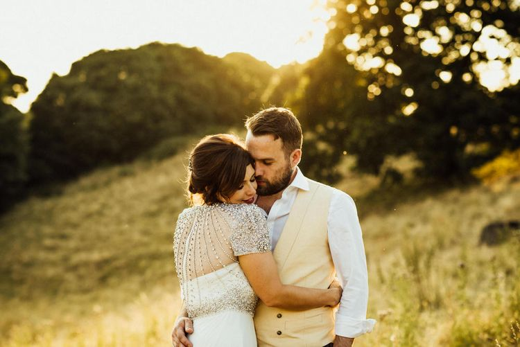 Golden Hour Couple Portraits // Yurt Wedding With Outdoor Humanist Ceremony Bride In Jenny Packham And Groom In Top Hat With Images From Michelle Wood Photographer
