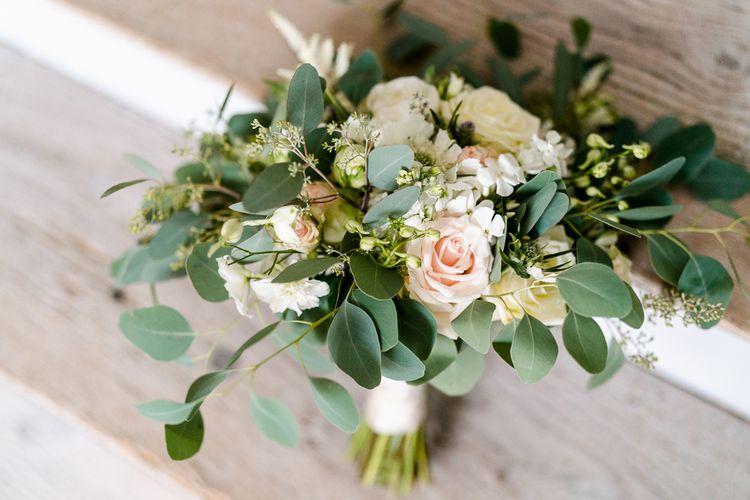 Romantic Green, White & Pink Bridal Bouquet | Traditional Green/Blue Danish Wedding at Scandinavian Country House, Jomfruens Egede in Faxe, Denmark | John Barwood Photography
