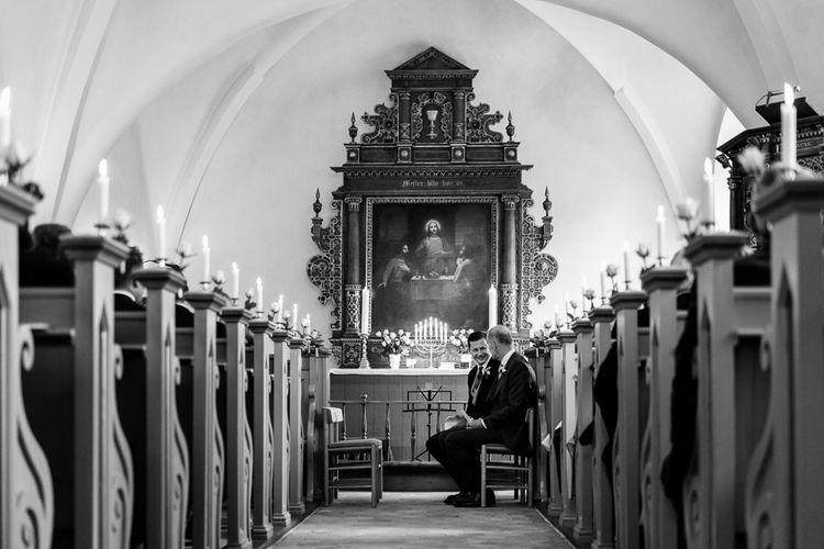 Church Wedding Ceremony |  Groom in Henry Herbert Tailors Morning Suit | Traditional Green/Blue Danish Wedding at Scandinavian Country House, Jomfruens Egede in Faxe, Denmark | John Barwood Photography