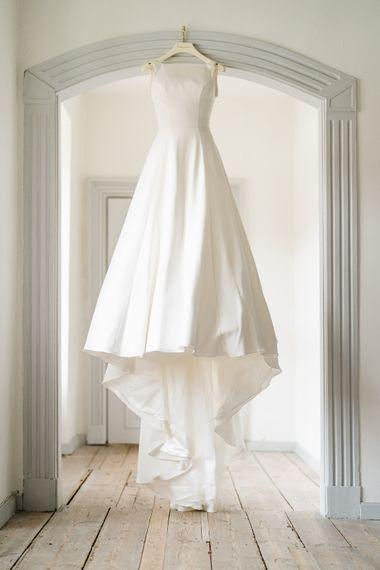 Elegant Caroline Castigliano Bridal Gown | Traditional Green/Blue Danish Wedding at Scandinavian Country House, Jomfruens Egede in Faxe, Denmark | John Barwood Photography