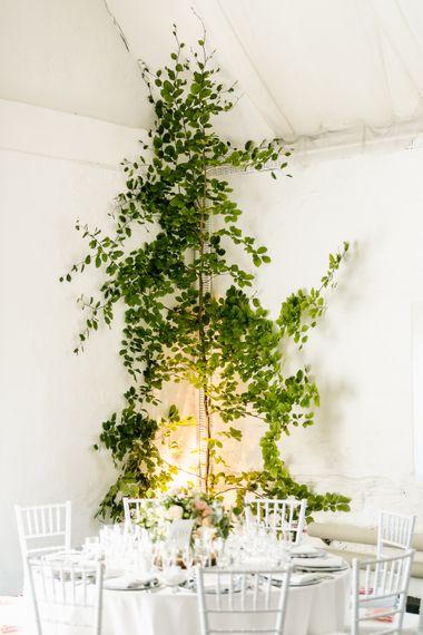 Foliage Wedding Decor | Traditional Green/Blue Danish Wedding at Scandinavian Country House, Jomfruens Egede in Faxe, Denmark | John Barwood Photography