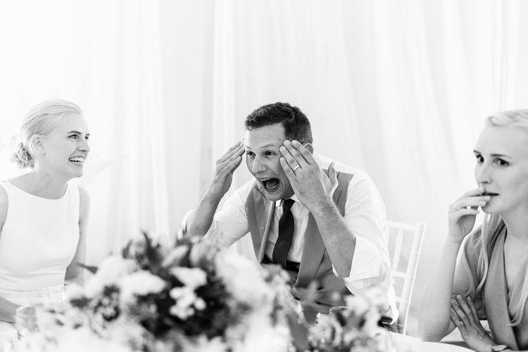 Evening Reception Speeches | Groom in Henry Herbert Tailors Morning Suit | Traditional Green/Blue Danish Wedding at Scandinavian Country House, Jomfruens Egede in Faxe, Denmark | John Barwood Photography
