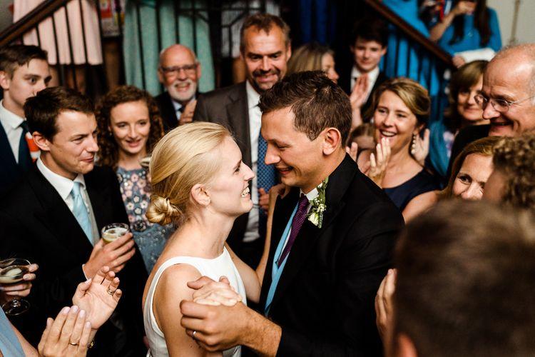 First Dance | Bride in Caroline Castigliano Wedding Dress | Groom in Henry Herbert Tailors Morning Suit | Traditional Green/Blue Danish Wedding at Scandinavian Country House, Jomfruens Egede in Faxe, Denmark | John Barwood Photography