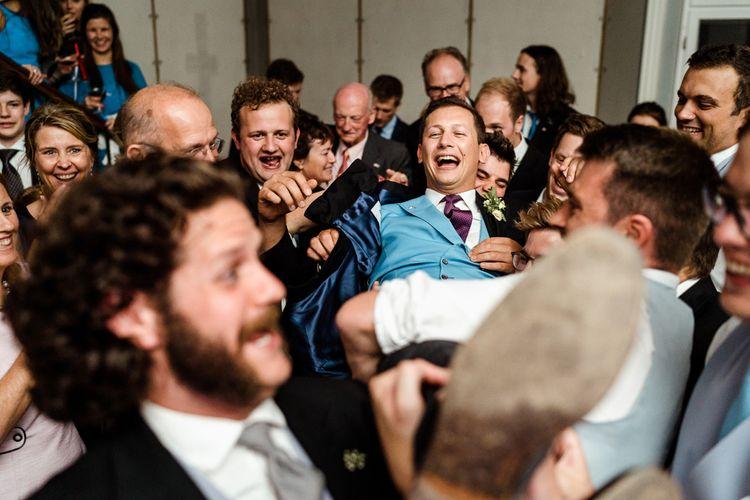 Groom in Henry Herbert Tailors Morning Suit | Traditional Green/Blue Danish Wedding at Scandinavian Country House, Jomfruens Egede in Faxe, Denmark | John Barwood Photography