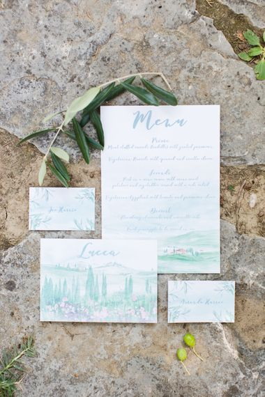 Watercolour Wedding Stationery Suite | Four Day Italian Destination Wedding at Frattoria Mansi Bernadini Planned by Weddings by Emily Charlotte | Cecelina Photography