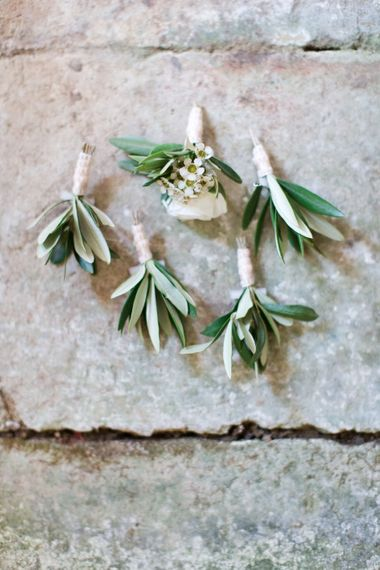 Olive Branch Buttonholes | Four Day Italian Destination Wedding at Frattoria Mansi Bernadini Planned by Weddings by Emily Charlotte | Cecelina Photography