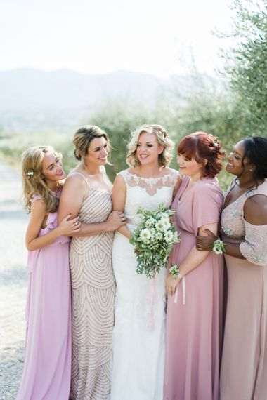 Bridal Party | Bridesmaids in Different Pink Dresses | Bride in Lace Stella York Wedding Dress | Four Day Italian Destination Wedding at Frattoria Mansi Bernadini Planned by Weddings by Emily Charlotte | Cecelina Photography