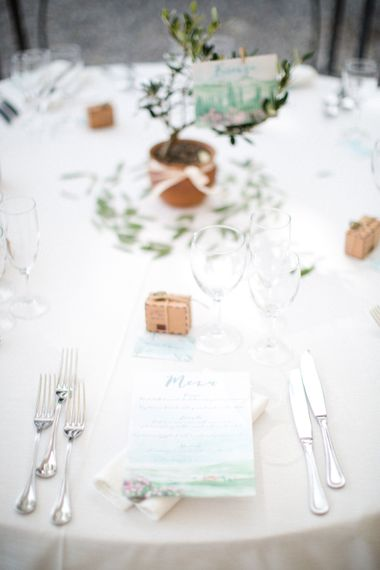 Elegant Place Setting with Menu Card | Four Day Italian Destination Wedding at Frattoria Mansi Bernadini Planned by Weddings by Emily Charlotte | Cecelina Photography