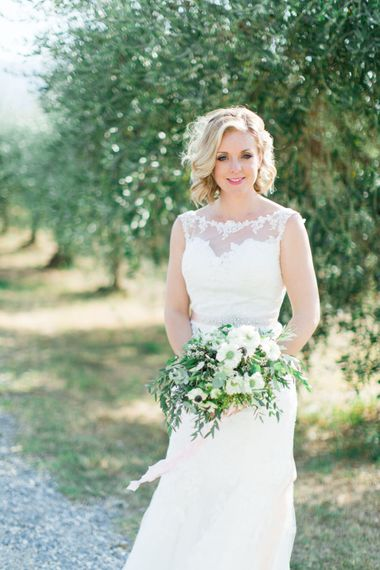 Beautiful Bride in Lace Stella York Wedding Dress | Four Day Italian Destination Wedding at Frattoria Mansi Bernadini Planned by Weddings by Emily Charlotte | Cecelina Photography