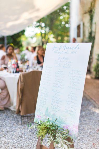 Watercolour Table Plan | Four Day Italian Destination Wedding at Frattoria Mansi Bernadini Planned by Weddings by Emily Charlotte | Cecelina Photography