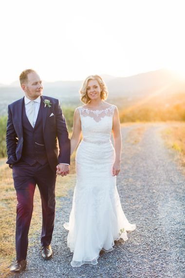 Golden Hour Portrait | Bride in Lace Stella York Wedding Dress | Groom in Three Piece Navy Suit | Four Day Italian Destination Wedding at Frattoria Mansi Bernadini Planned by Weddings by Emily Charlotte | Cecelina Photography