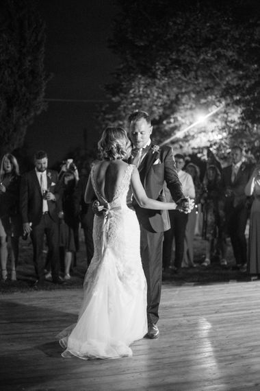 First Dance | Bride in Lace Stella York Wedding Dress | Groom in Three Piece Navy Suit | Four Day Italian Destination Wedding at Frattoria Mansi Bernadini Planned by Weddings by Emily Charlotte | Cecelina Photography