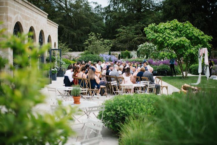 Outdoor wedding ceremony at Middleton Lodge with Acrylic Wedding Signs