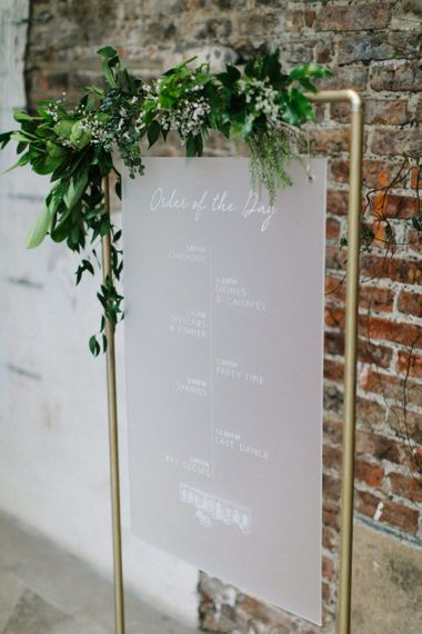 Hanging Frosted Acrylic wedding signs Order of the Day on Gold Frame