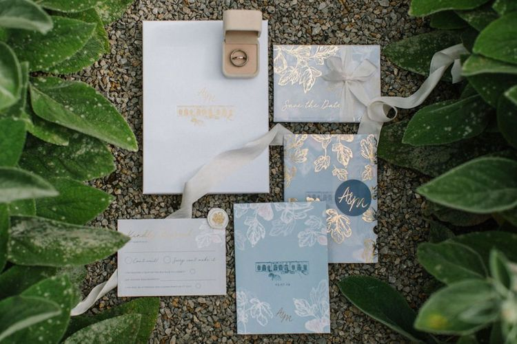 Blue and Gold Wedding Stationery Suite Designed by Amanda Michelle Design & Stationery