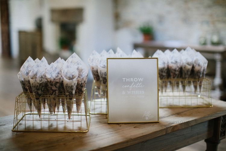 Vellum Confetti Cones and Frosted Acrylic Wedding Signs in Gold Frame