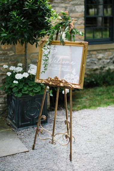 Welcome Fronted Acrylic Wedding Signs Gold Frame