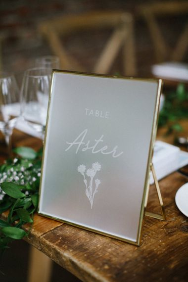 Frosted Acrylic Wedding Signs for the Table in Gold Frame
