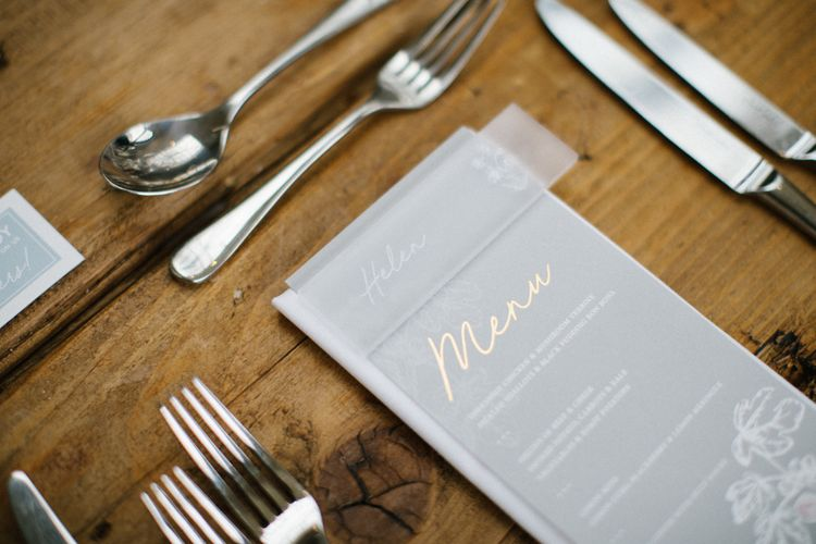 Grey and Gold Menu Card and Frosted Acrylic wedding signs Name Place Card