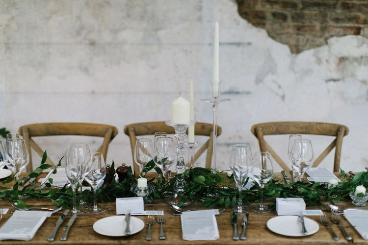 Greenery Table Runner, Glass Candles Sticks and Acrylic Wedding Signs
