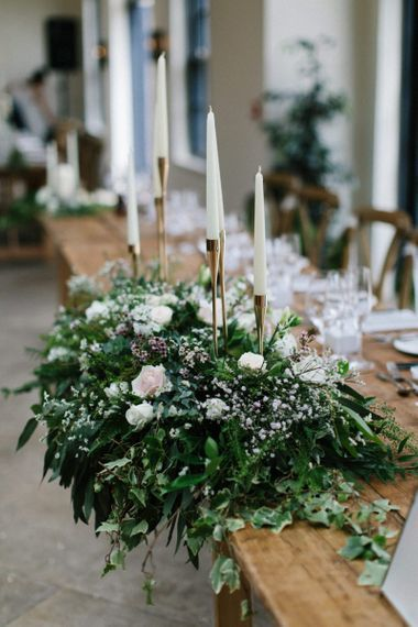 Top Table Flower Arrangement with Gold Candelabra