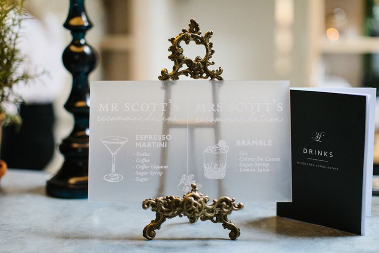 Frosted Acrylic Wedding Signs Cocktail Menu on Miniature Gold Easel