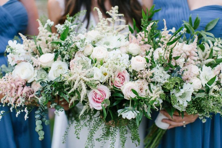 Romantic Pastel Pink and White Wedding Bouquet