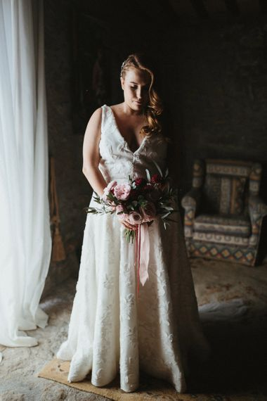 Jenny Yoo wedding dress with pink bouquet