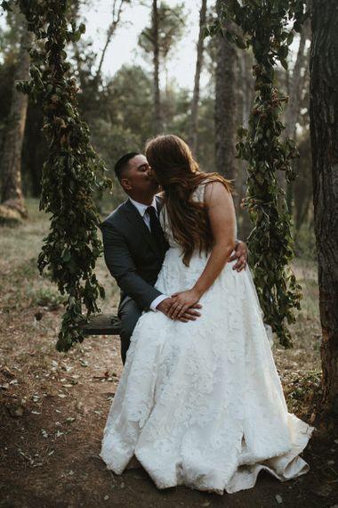 Bride in Jenny Yoo wedding dress with new husband