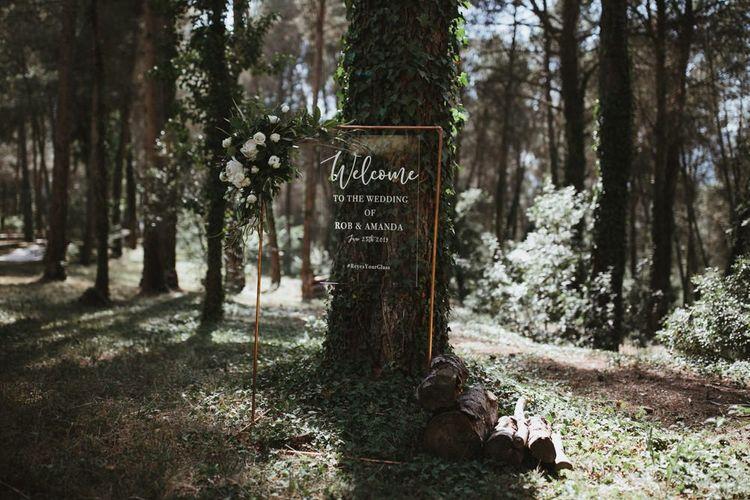 Acrylic wedding sign for forest wedding