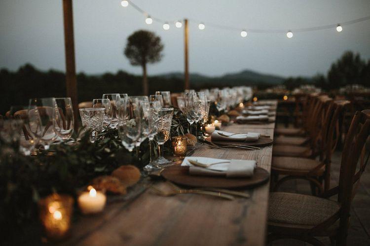 Wedding breakfast at outdoor Spain wedding