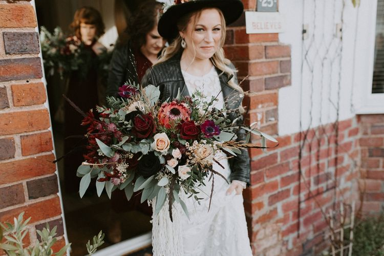 Oversized Deep Red and Green Wedding Bouquet with Roses, Proteas and Foliage