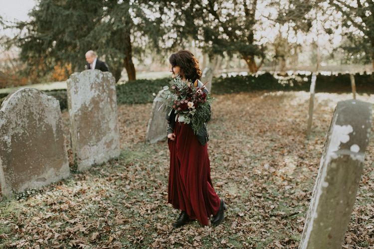 Bridesmaid in Deep Red Dress From ASOS, Boots and Leather Jacket