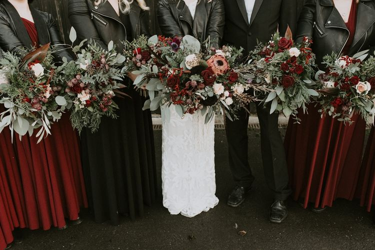 Deep Red and Green Bridal Party Bouquets with Roses, Proteas and Foliage