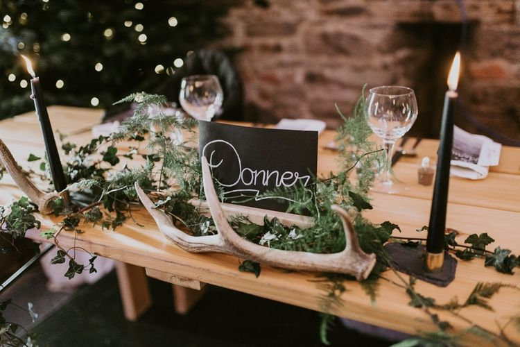 Chalk Board Reindeer Table Names for Christmas Wedding
