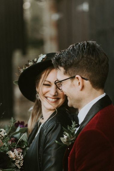 Smiling Bride in Fedora Hat and Leather Jacket