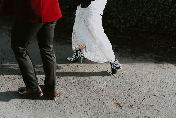 Black and White Bridal Boots and Brown Brogues