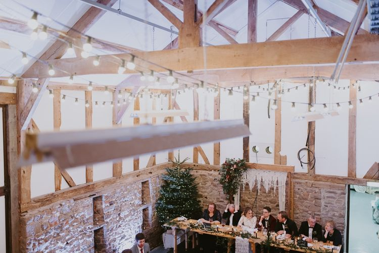 Christmas Wedding Reception with Christmas Tree and Festoon Lights