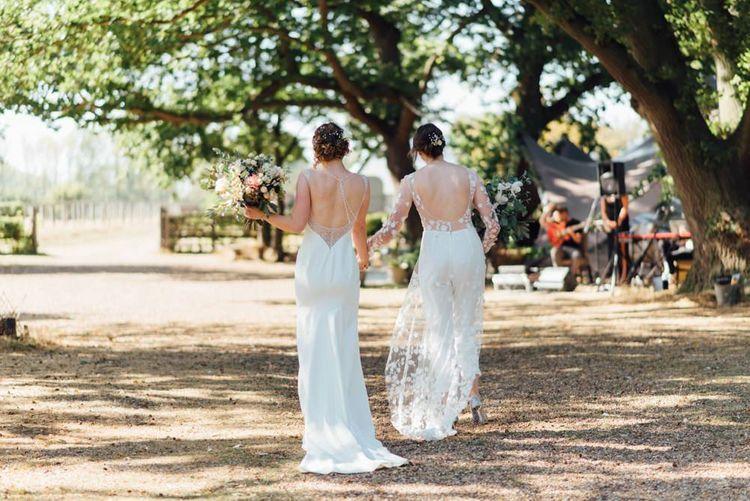 Outdoor wedding celebration at secluded woodland setting