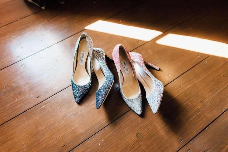 Sparkly Jimmy Choo wedding shoes at outdoor wedding in autumn