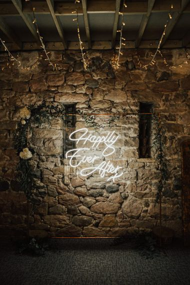 Neon Happily Ever After wedding sign at Askham Hall wedding