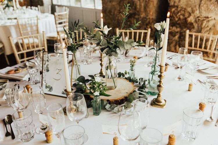 Rustic tree slice wedding table decoration
