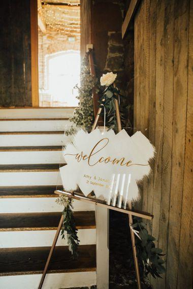 Acrylic wedding signs at Askham Hall wedding