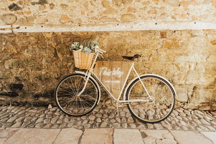 Bicycle wedding decor at Askham Hall wedding