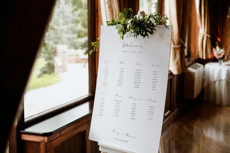 Minimalist table plan at The Ravenswood reception