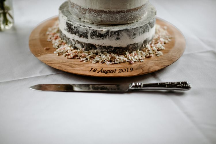 Engraved wooden cake stand