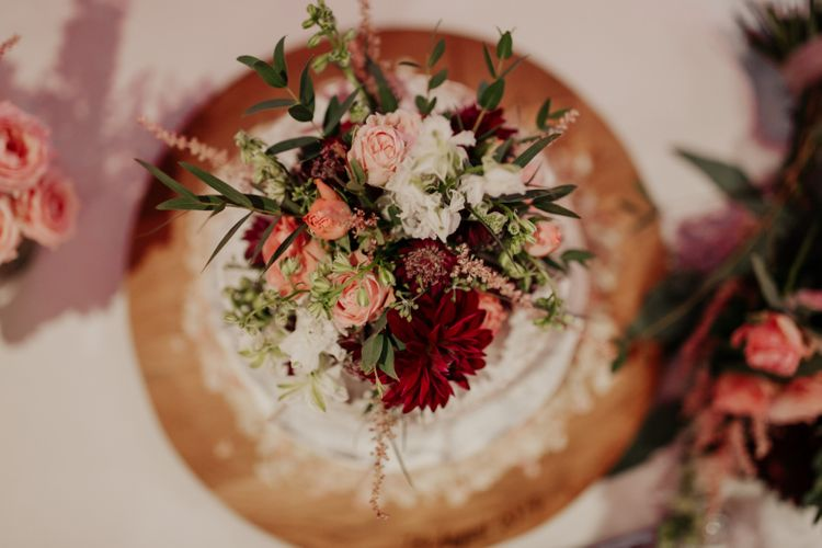 Floral cake topper wedding flowers